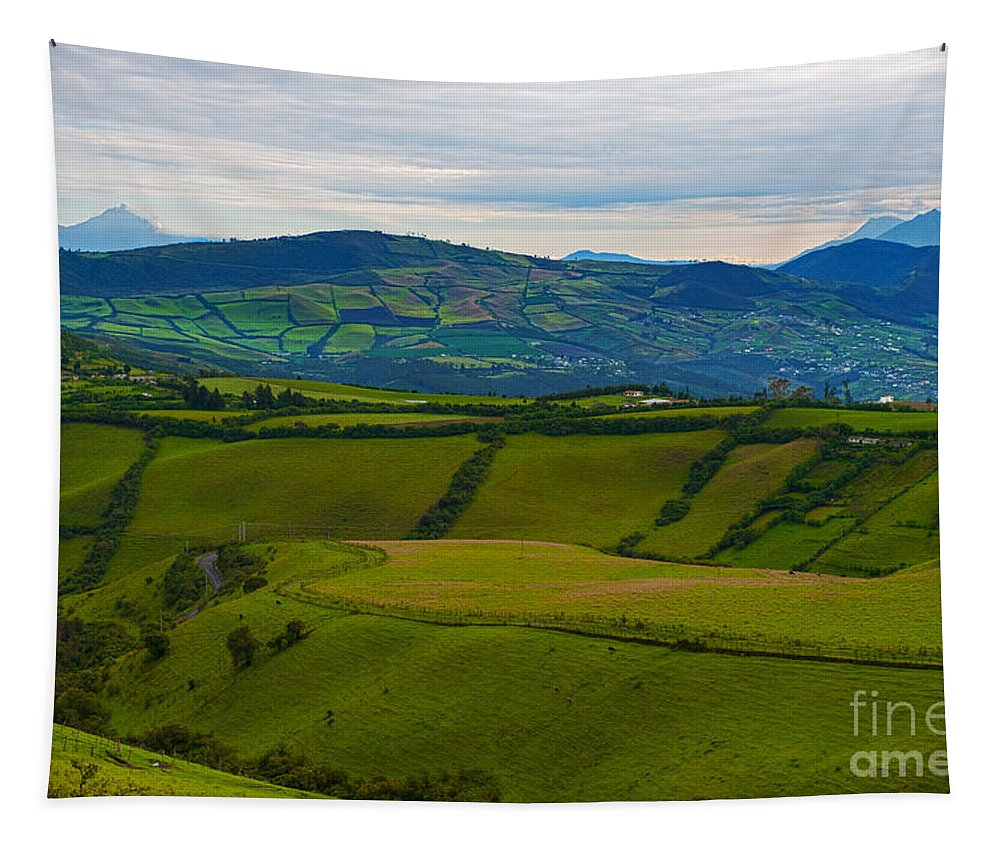 Festblues Tapestry featuring the photograph Postcard From Ecuador... by Nina Stavlund