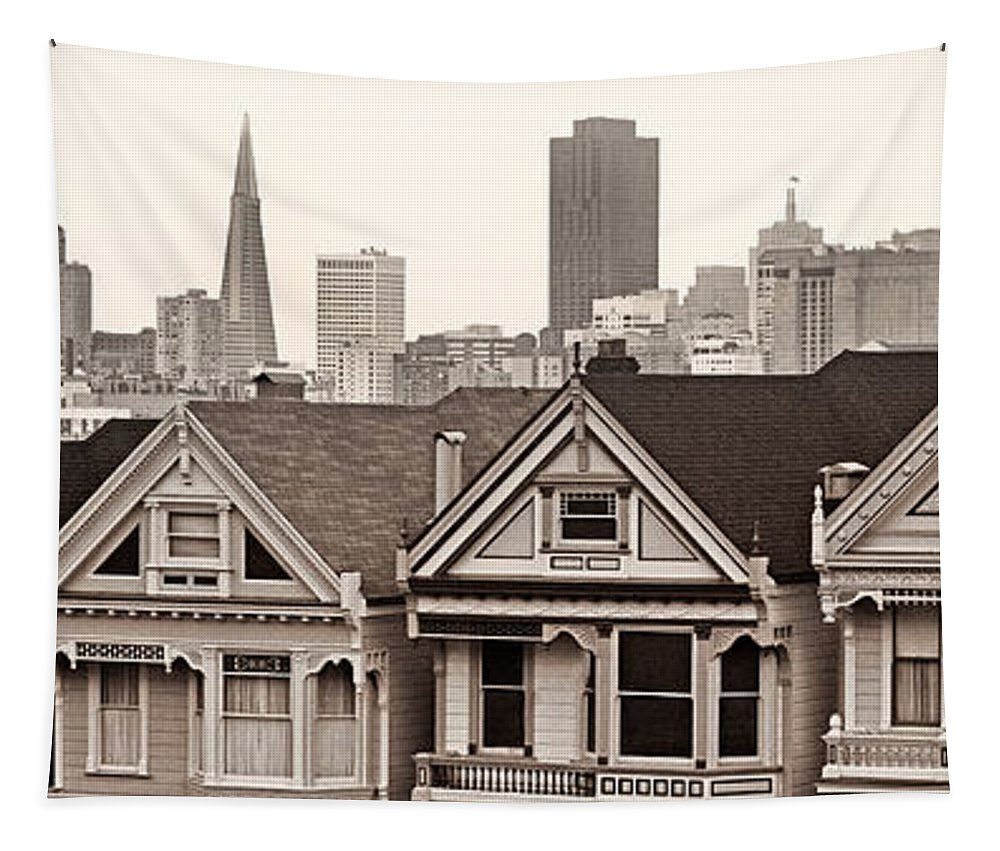 San Francisco Tapestry featuring the photograph Postcard Row Bw by Jerry Fornarotto