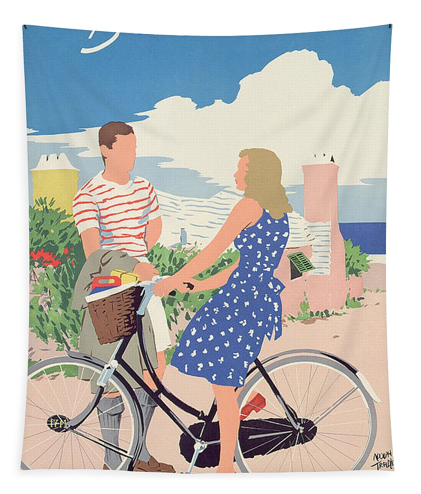 Advert; Advertisement; Tourism; Travel; Caribbean; Island; Male; Female; Bicycle; Bike; Basket; Summer; Holiday; Vacation; Blue Dress; 1950s; 50s; Fifties; Romantic; Romance; Flirting; Landscape; Seaside; Coast; Coastal; Sunny; Lovers; Couple; Exotic; Jet Set Tapestry featuring the drawing Poster Advertising Bermuda by Adolph Treidler