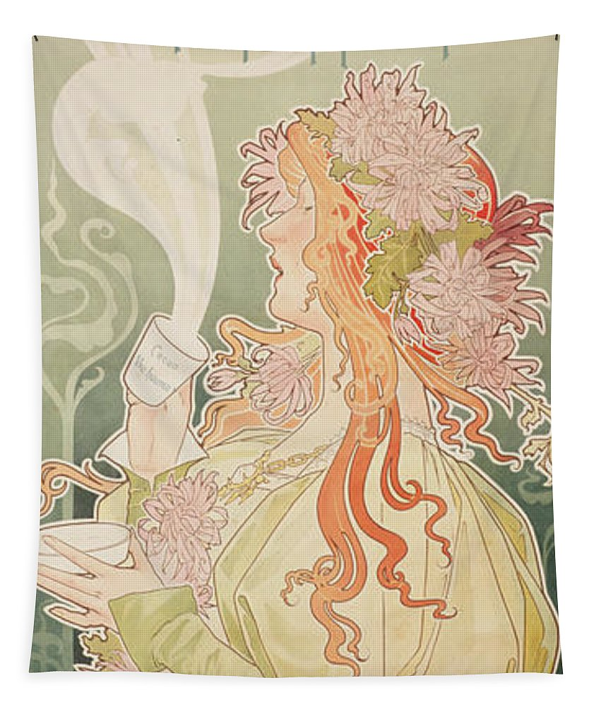 Art Nouveau Tapestry featuring the painting Poster Advertising Caco Van Houten by Privat Livemont