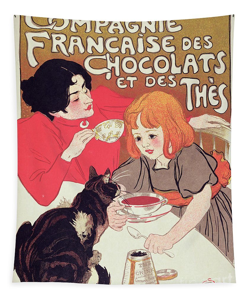 Publicite Tapestry featuring the painting Poster Advertising The Compagnie Francaise Des Chocolats Et Des Thes by Theophile Alexandre Steinlen
