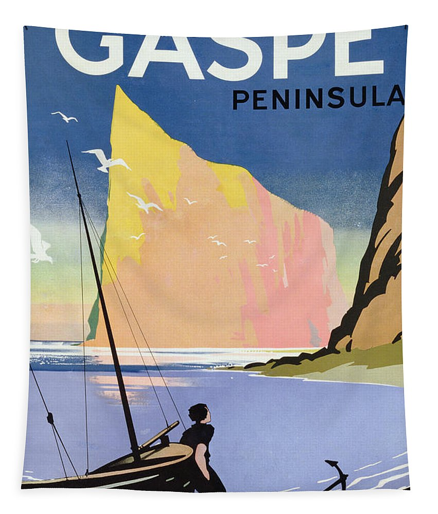Canadian; Tourism; Advert; Advertisement; Publicity; Seaside; Landscape; Dramatic; Coast; Coastal; Coastline; Sailing; Boat; Sailor; Cliff; Seagulls; Landmark; Vintage Poster; St; Lawrence Seaway Tapestry featuring the drawing Poster Advertising The Gaspe Peninsula Quebec Canada by Canadian School