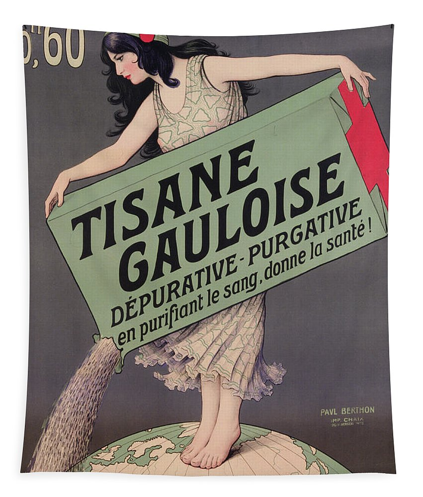 Tea Tapestry featuring the painting Poster Advertising Tisane Gauloise by Paul Berthon