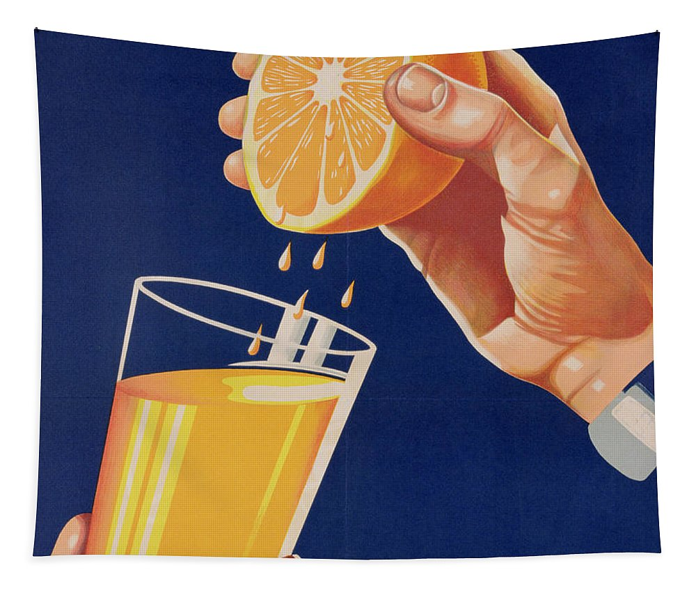 Drink; Advertisement; Advert; Advertising; Publicity; Publicising; Food; Promoting; Hand; Squeezing; Forties Tapestry featuring the drawing Poster With A Glass Of Orange Juice by Israeli School
