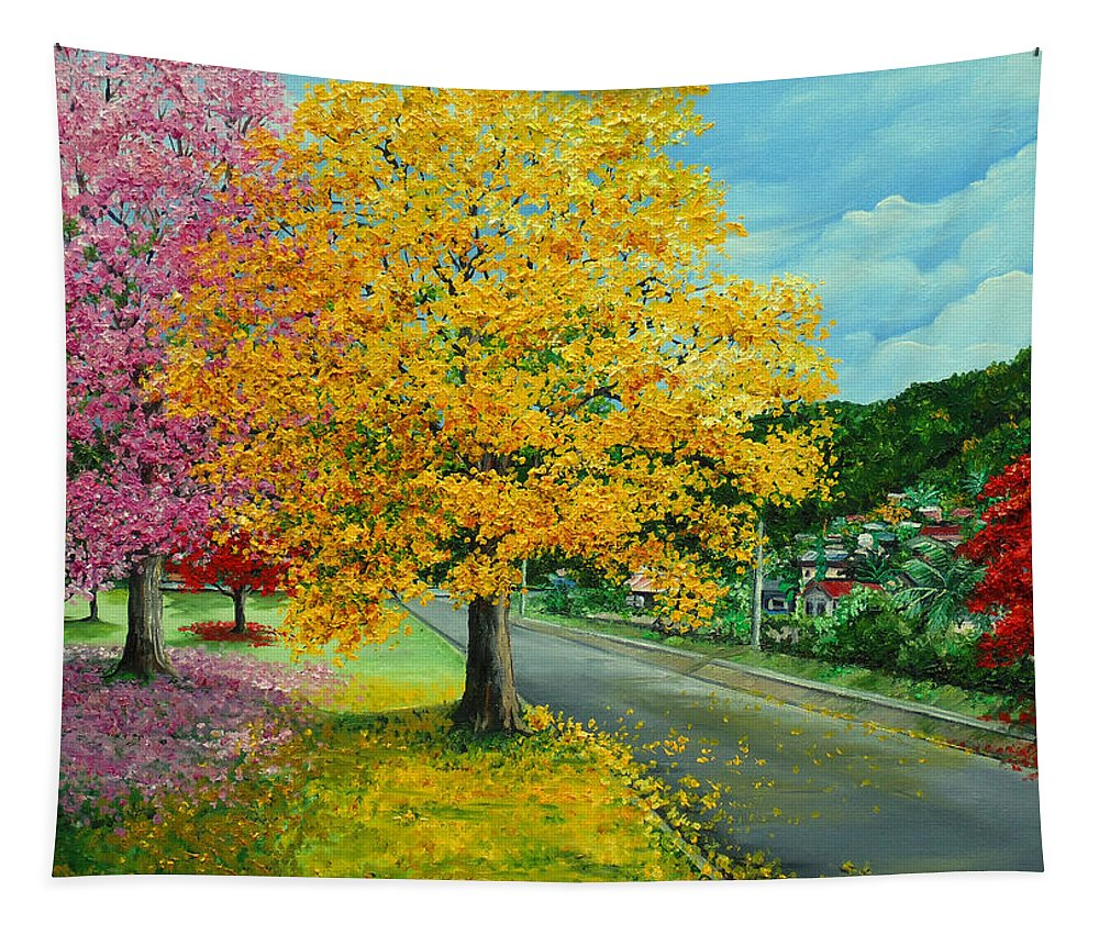 Poui Trees Tapestry featuring the painting Poui In Diego by Karin Dawn Kelshall- Best