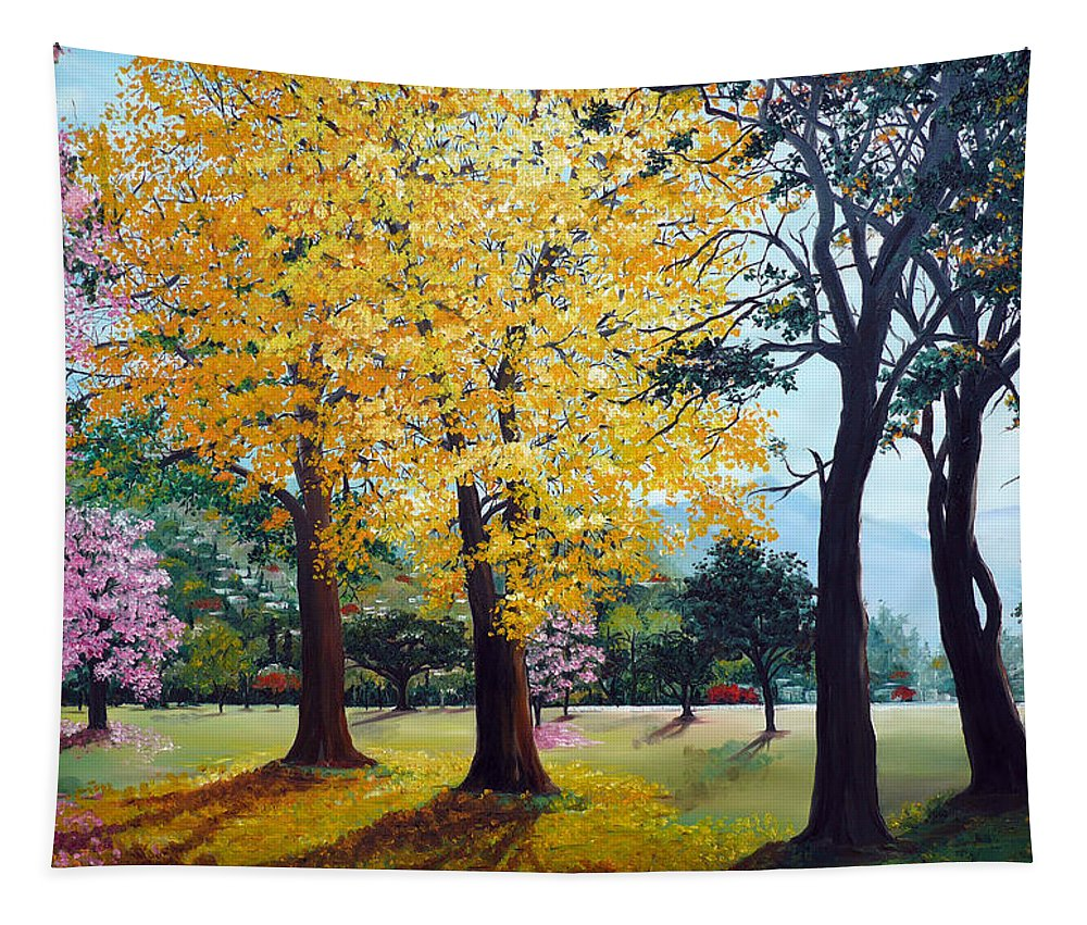 Tree Painting Landscape Painting Caribbean Painting Poui Tree Yellow Blossoms Trinidad Queens Park Savannah Port Of Spain Trinidad And Tobago Painting Savannah Tropical Painting Tapestry featuring the painting Poui Trees in the Savannah by Karin Dawn Kelshall- Best