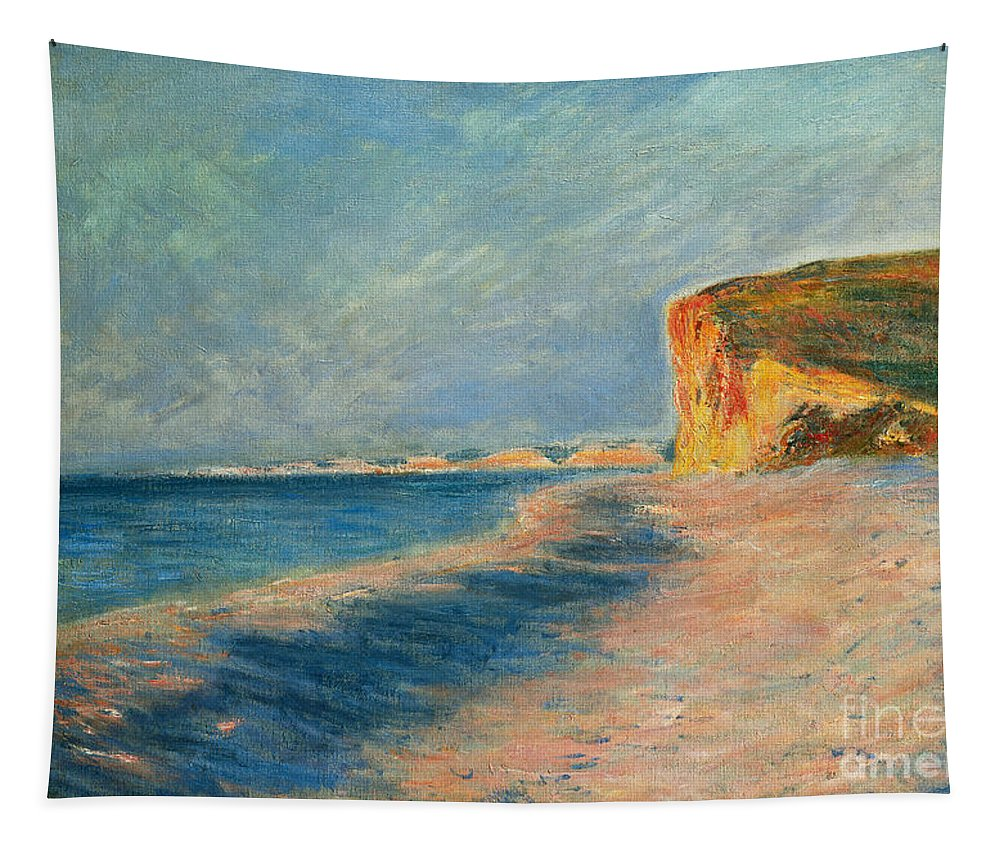Outdoor; Outdoors; Outside; Painting; Peace; Peaceful; Perspective; Picturesque; Positive Concepts; Pourville; Pourville Pres De Dieppe; Quiet; Receding View; Rock; Sea; Seine Maritime; Shore; Shoreline; Sky; Still; Sun; Sunlight; Sunny; Tide; Time Of Day; Tranquil; Tranquility; Water; Waves Tapestry featuring the painting Pourville Near Dieppe by Claude Monet