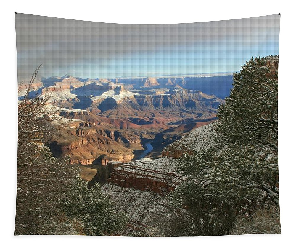 Canyon Tapestry featuring the photograph Powder Coated Canyon by Susan McMenamin
