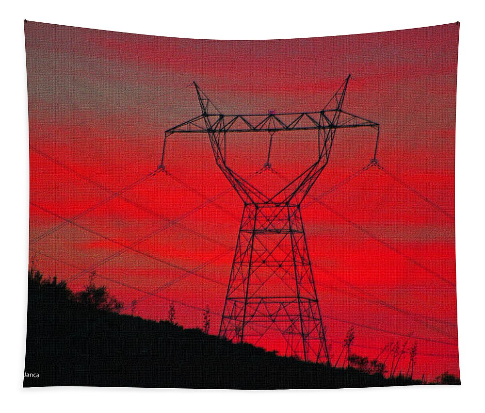 Power Lines Just After Sunset Tapestry featuring the photograph Power Lines Just After Sunset by Tom Janca