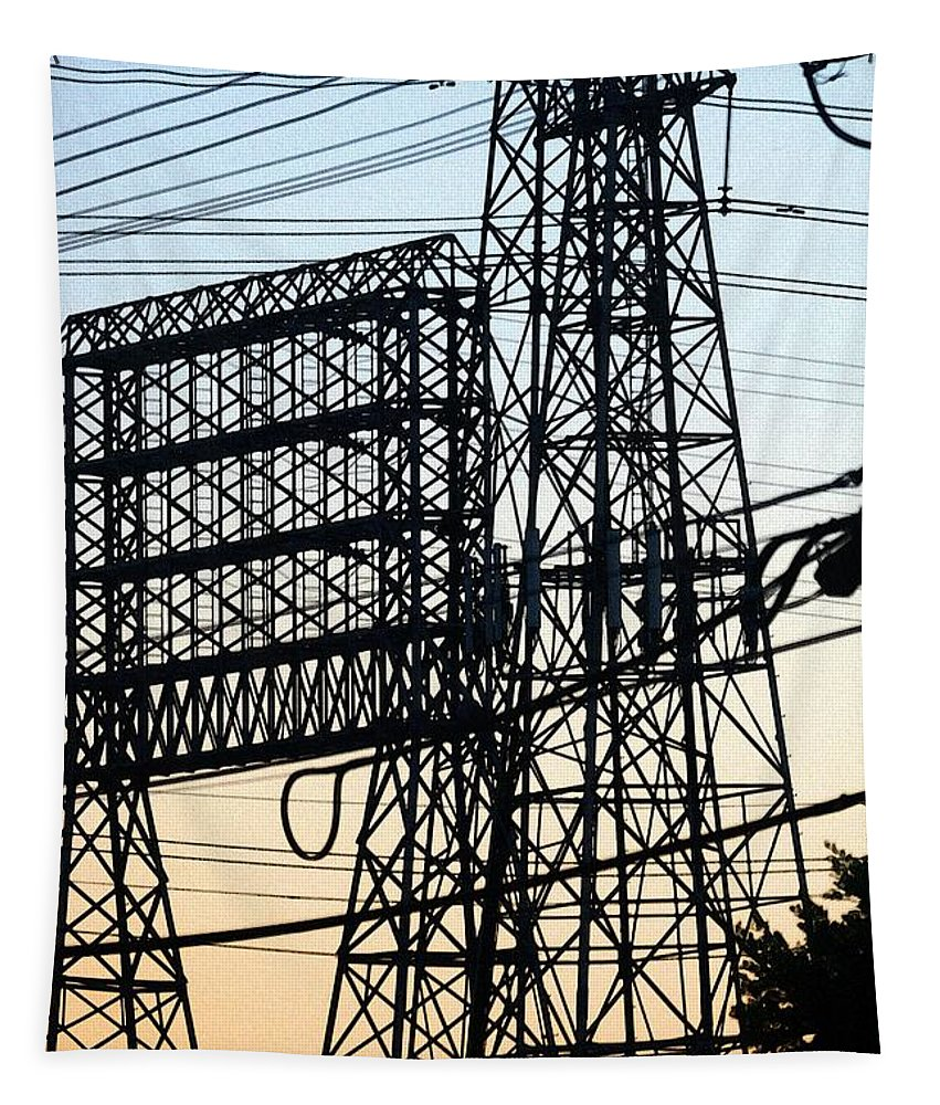 Power Tower Lines Tapestry featuring the photograph Power Tower Lines by Tom Janca
