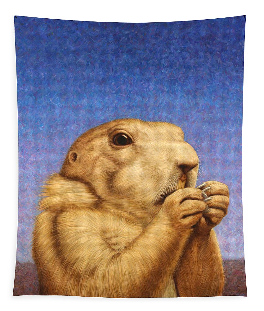 Prairie Dog Tapestry featuring the painting Prairie Dog by James W Johnson