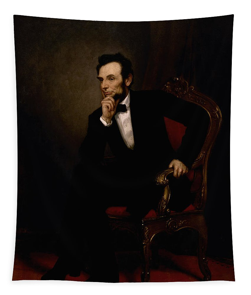 Abraham Lincoln Tapestry featuring the painting President Lincoln by War Is Hell Store