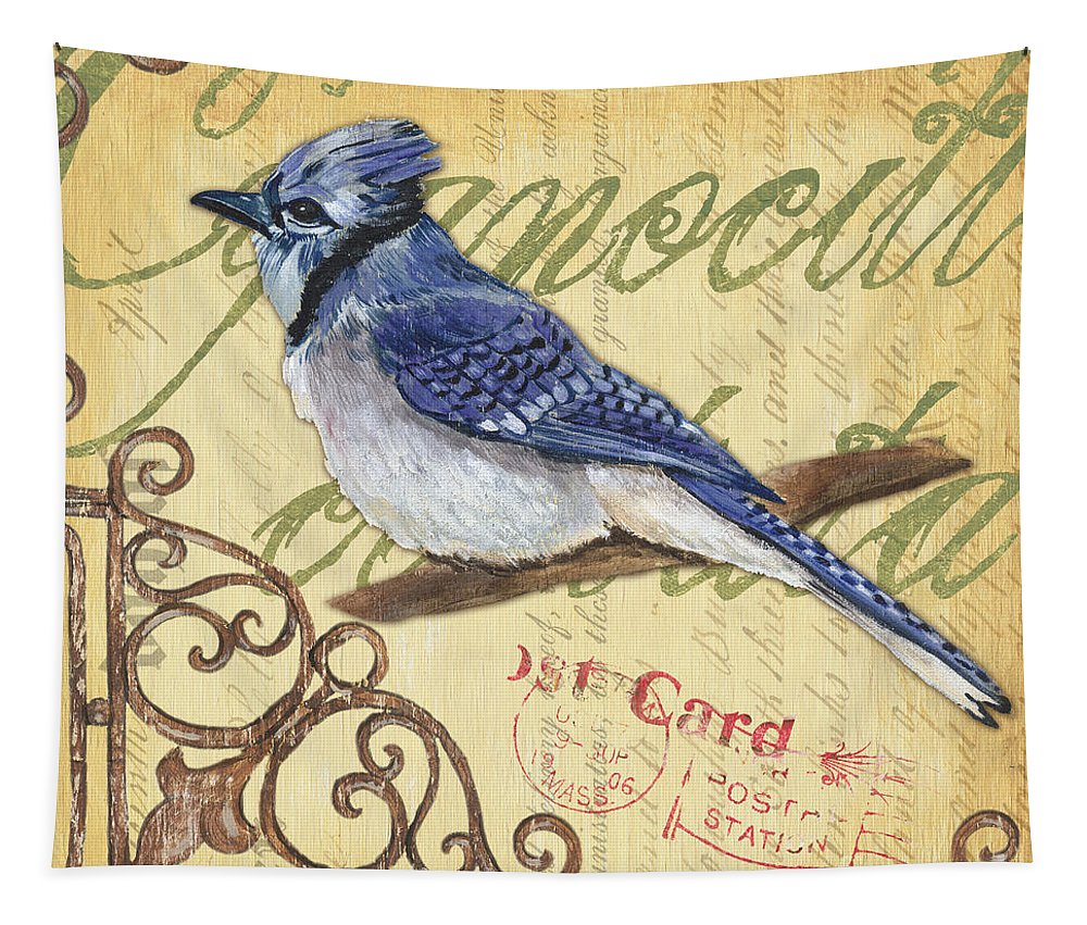 Blue Jay Tapestry featuring the painting Pretty Bird 4 by Debbie DeWitt