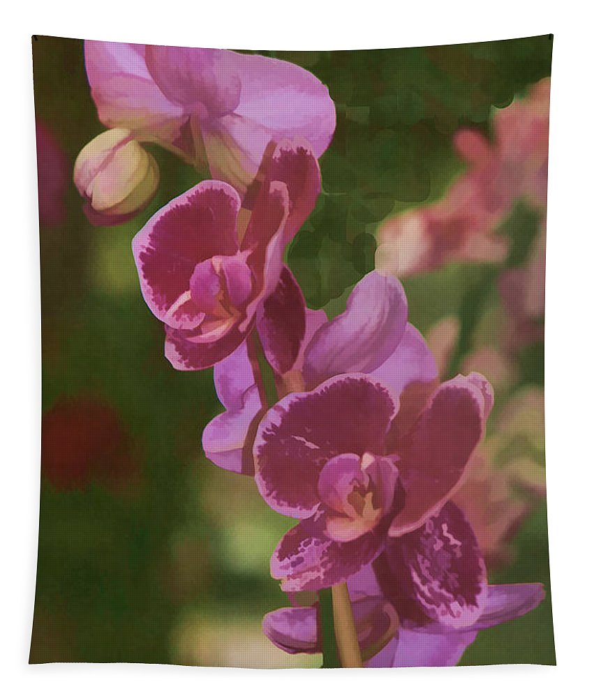Floral Print Tapestry featuring the photograph Pretty In Pink Water Color Effect by Tom Prendergast