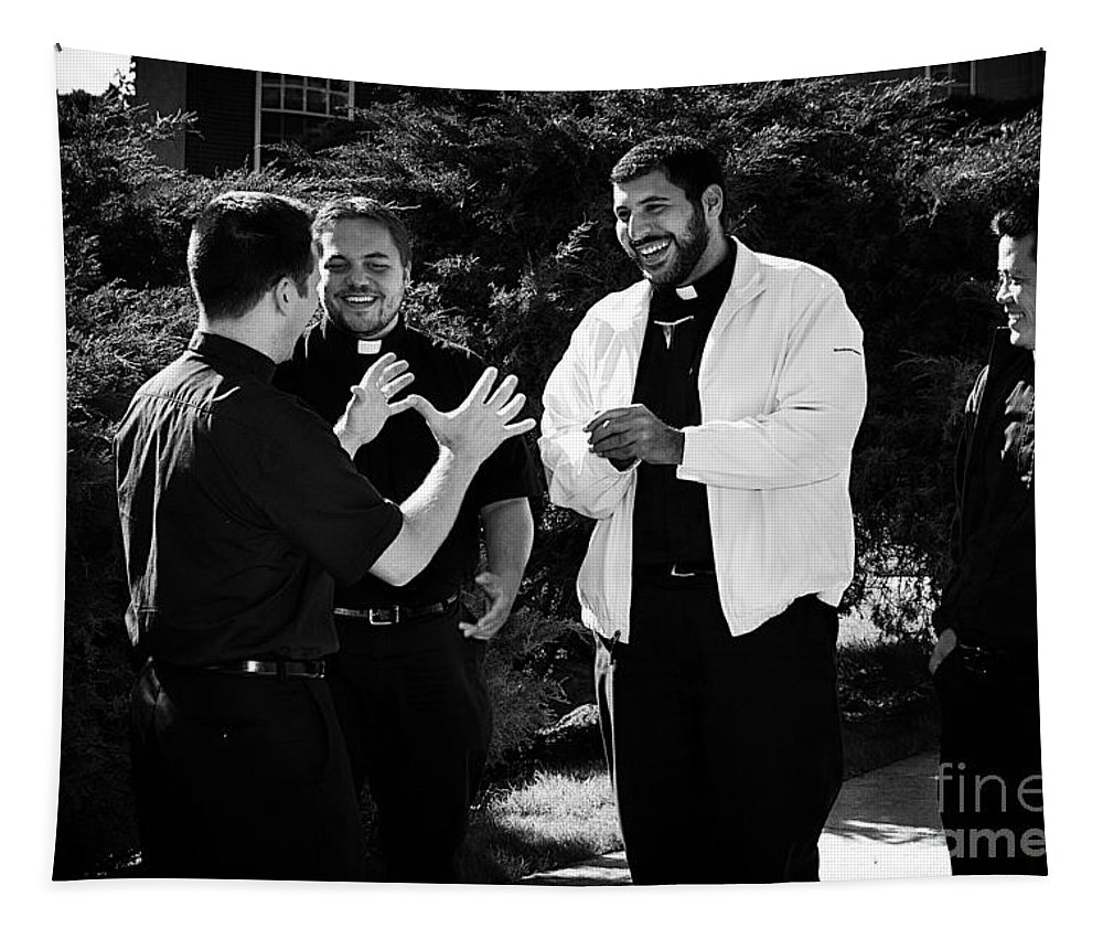 Blackandwhite Tapestry featuring the photograph Priest Camaraderie by Frank J Casella