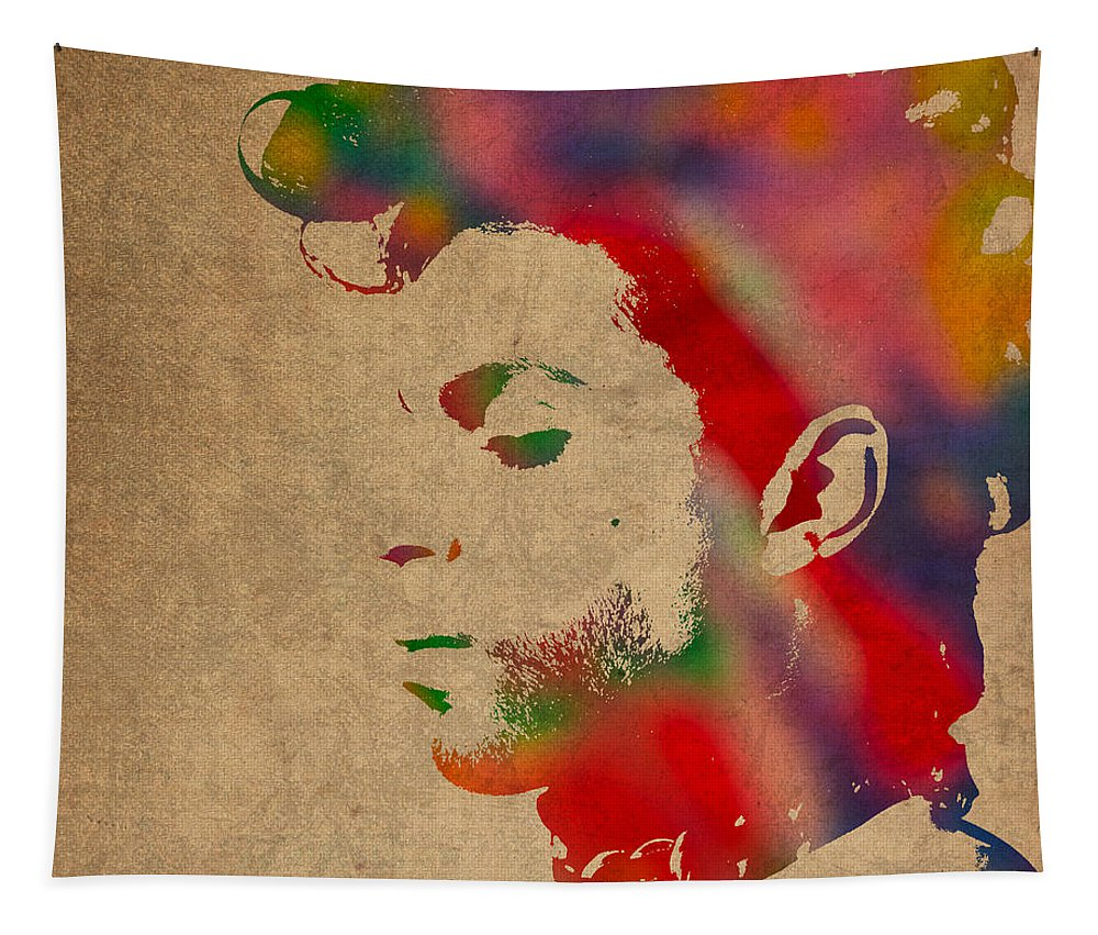 Prince Tapestry featuring the photograph Prince Watercolor Portrait On Worn Distressed Canvas by Design Turnpike