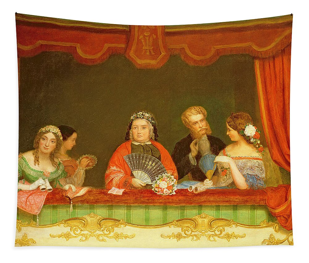 Opera Glasses Tapestry featuring the painting Private Box, Drury Lane, 1837 by John Watkins Chapman