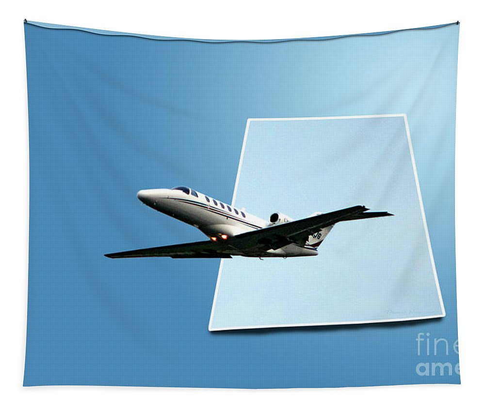 Jet Tapestry featuring the photograph Private Jet Chicago Airplanes 14 by Thomas Woolworth