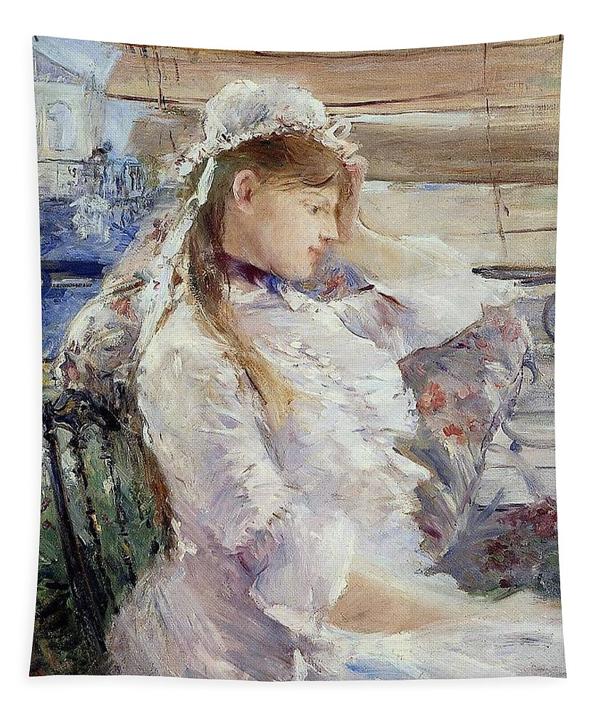 Female; Portrait; Half Length; White Dress; Gown; Impressionist; Outside; Bonnet; Frills; Frilly Tapestry featuring the painting Profile Of A Seated Young Woman by Berthe Morisot