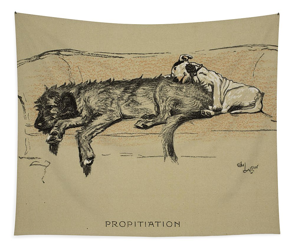 Dogs Tapestry featuring the drawing Propitation, 1930, 1st Edition by Cecil Charles Windsor Aldin