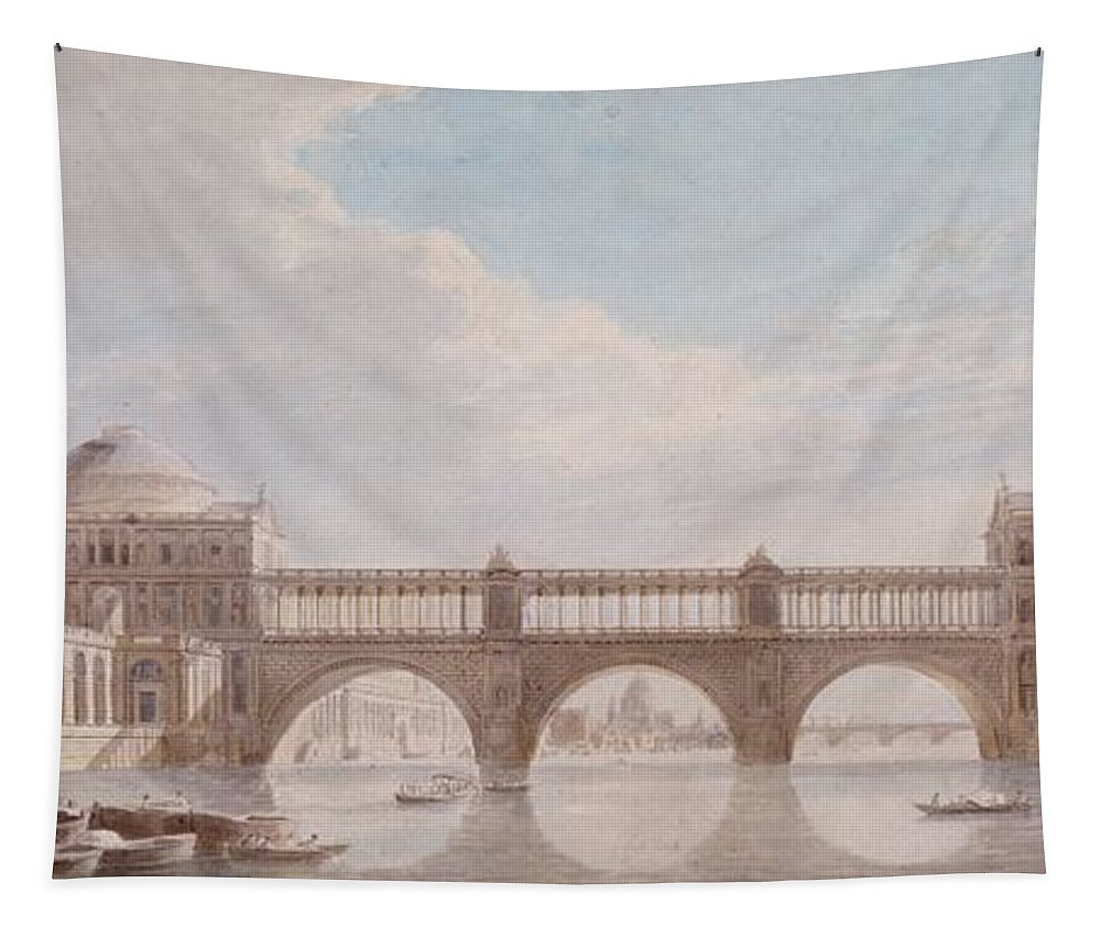 Proposed Design For A Bridge Over The River Thames At Somerset House Tapestry featuring the drawing Proposed Design For A Bridge by Thomas Sandby