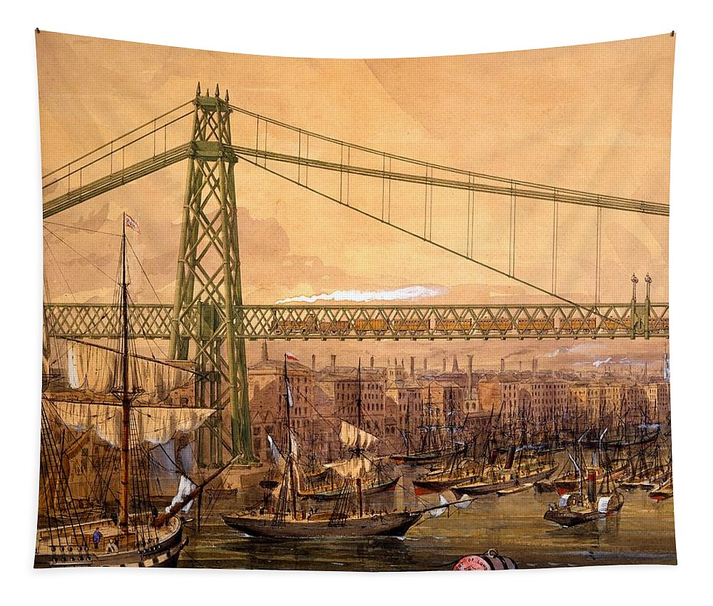 Proposed Tapestry featuring the drawing Proposed Railway Bridge by English School