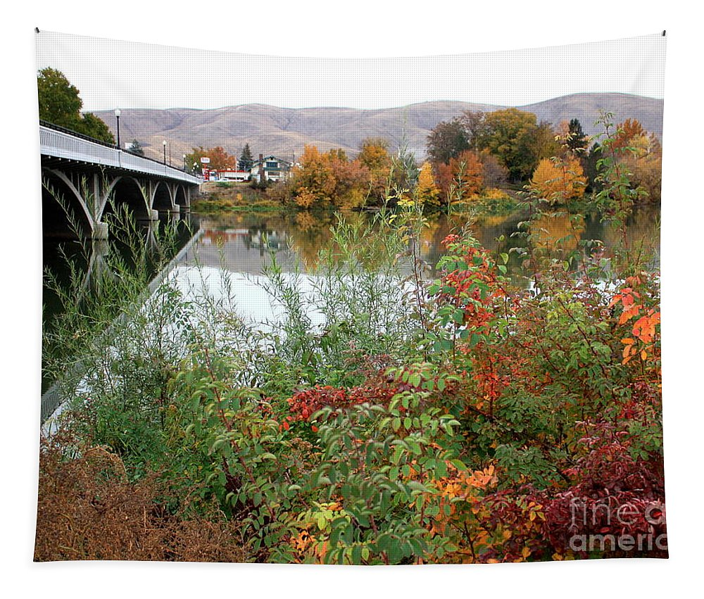 Autumn Tapestry featuring the photograph Prosser - Autumn Bridge by Carol Groenen