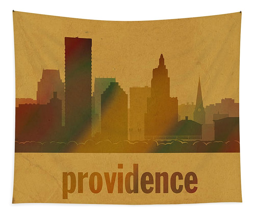 Providence Tapestry featuring the mixed media Providence Rhode Island City Skyline Watercolor On Parchment by Design Turnpike