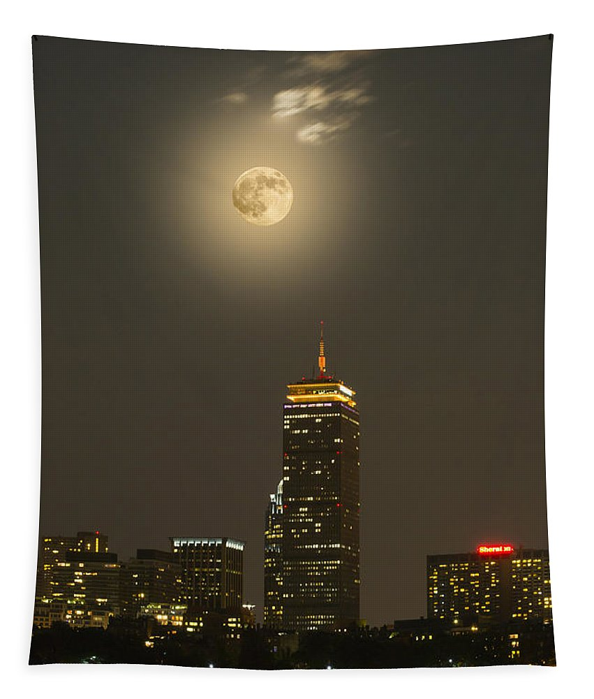 Supermoon Tapestry featuring the photograph Prudential Tower With Supermoon 2013 by Jatinkumar Thakkar
