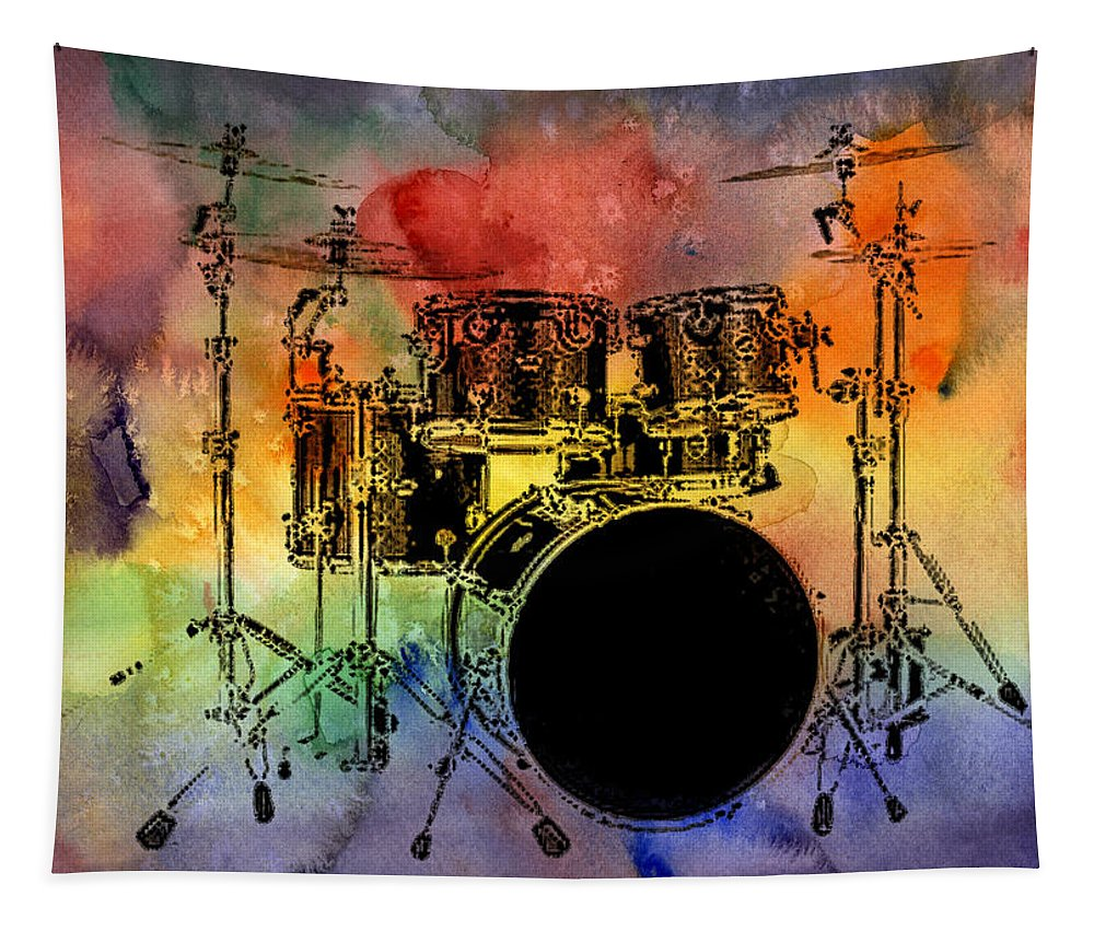 Drums Tapestry featuring the photograph Psychedelic Drum Set by Athena Mckinzie
