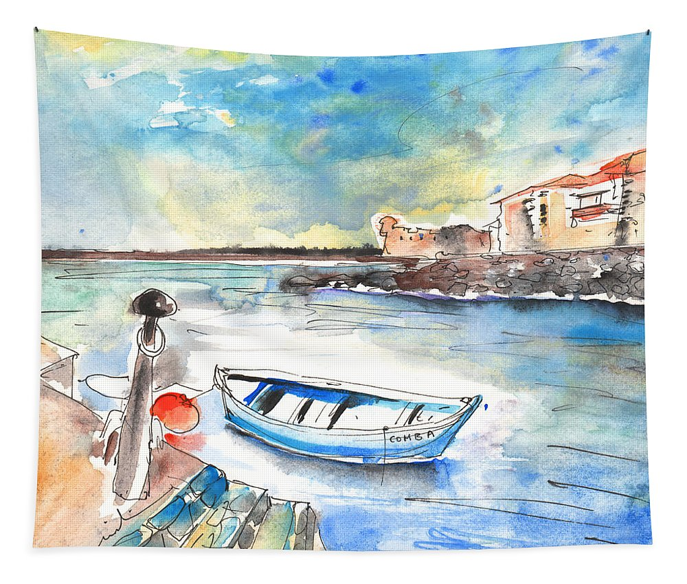 Travel Tapestry featuring the painting Puerto De La Cruz 02 by Miki De Goodaboom