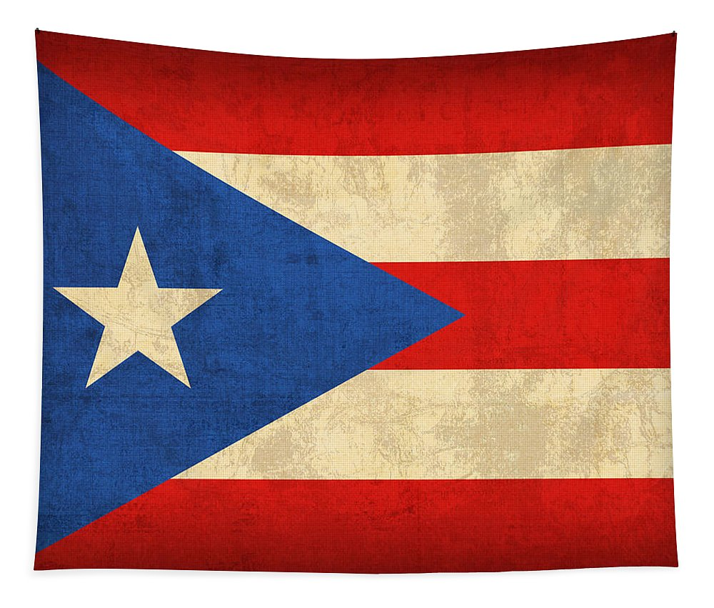 Puerto Tapestry featuring the mixed media Puerto Rico Flag Vintage Distressed Finish by Design Turnpike