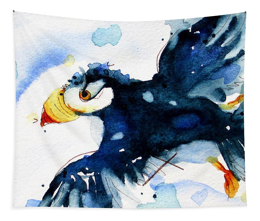Puffin In Flight Tapestry featuring the painting Puffin Flight by Dawn Derman