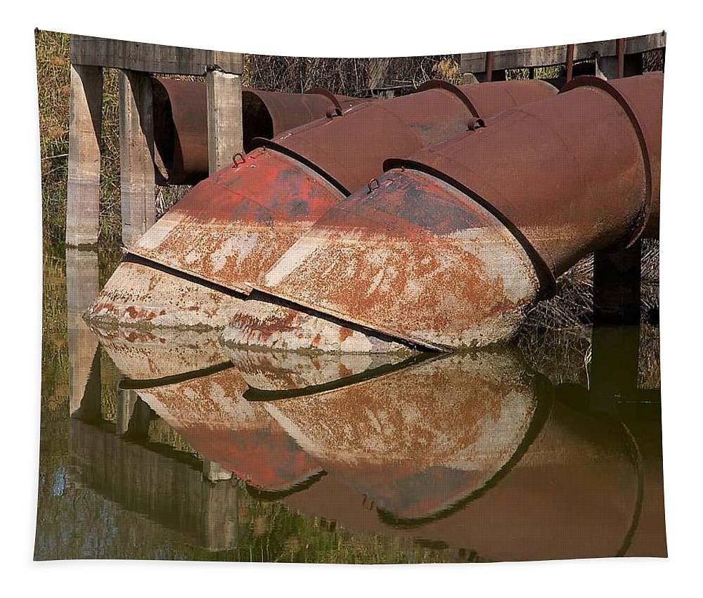 Water Tapestry featuring the photograph Pumphouse Intake Pipes by Stuart Litoff