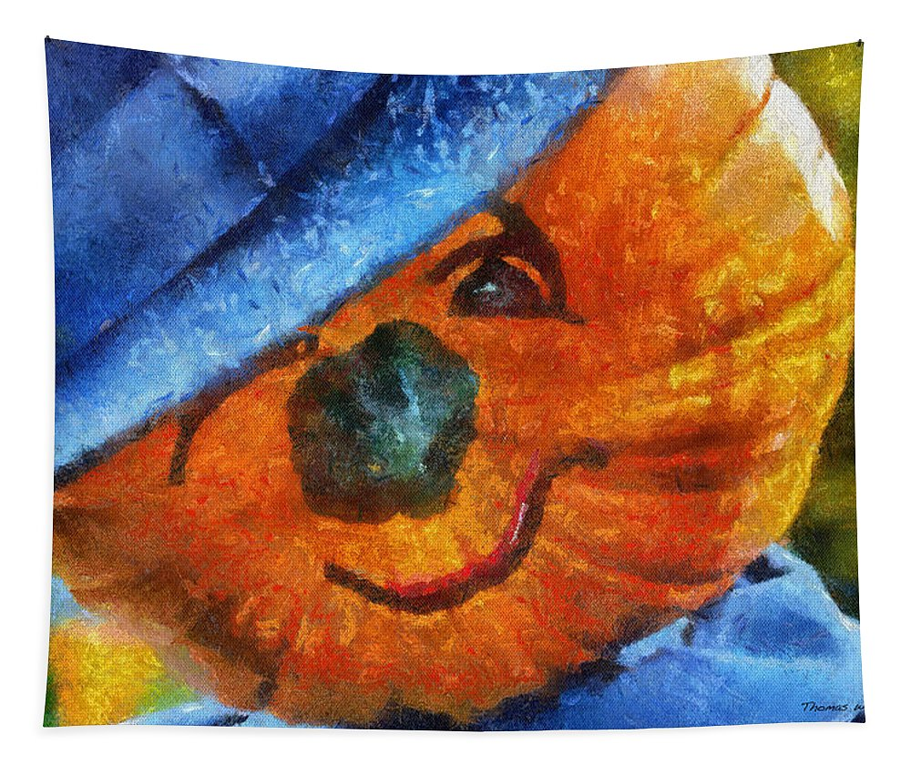 Orange Tapestry featuring the photograph Pumpkin Face 02 Photo Art by Thomas Woolworth