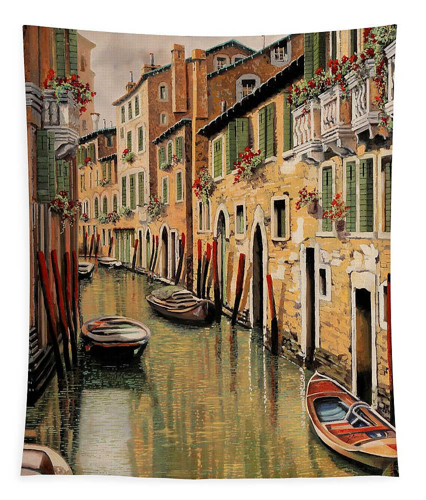 Red Dock Tapestry featuring the painting Punte Rosse A Venezia by Guido Borelli