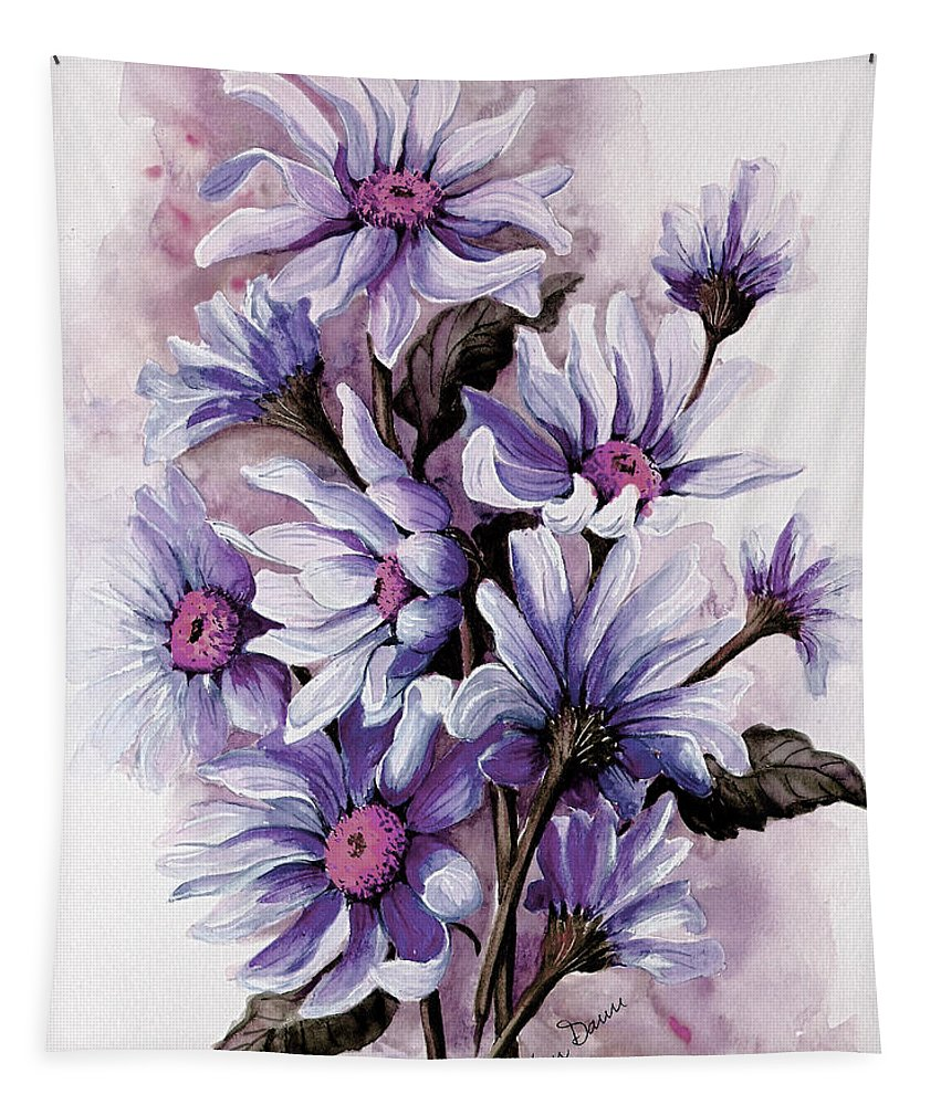 Floral Tapestry featuring the painting Purple Daisies by Karin Dawn Kelshall- Best