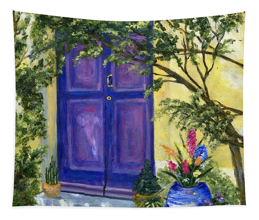 Landscape Tapestry featuring the painting Purple Door by Jamie Frier