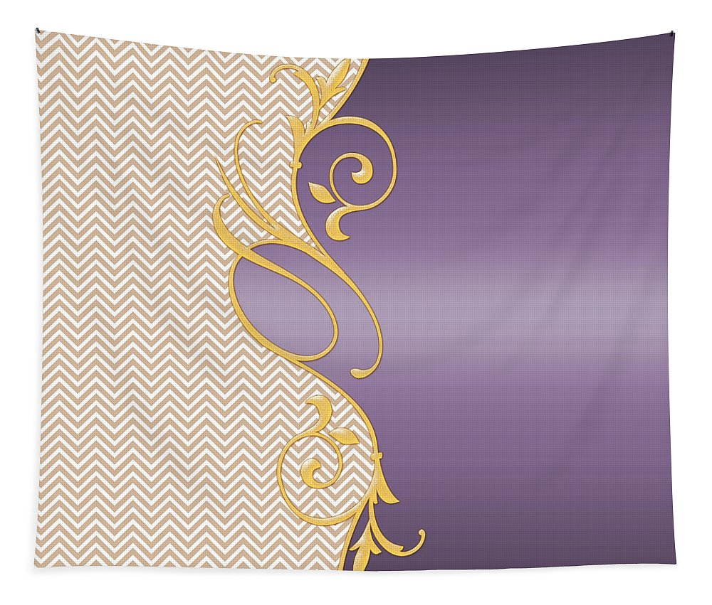 Purple Color Tapestry featuring the painting Purple Gold Chevron by Georgeta Blanaru