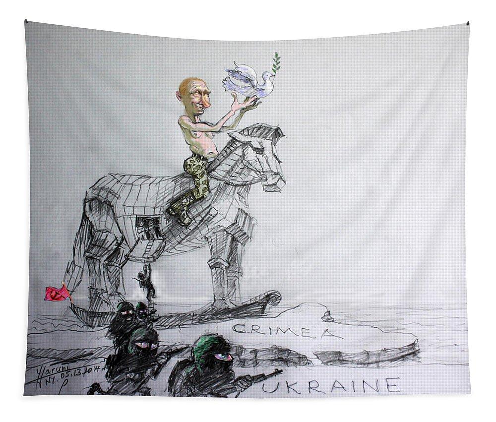 Vladimir Putin Tapestry featuring the mixed media Putin's Surprising Crimea Visit by Ylli Haruni