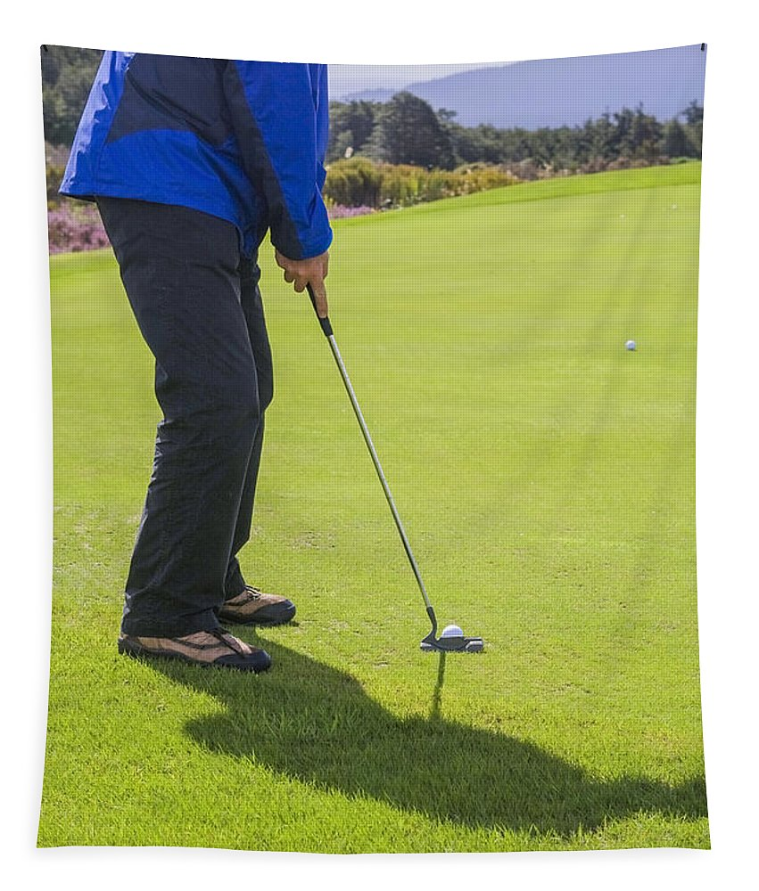 Background Tapestry featuring the photograph Putting A Golfball by Patricia Hofmeester