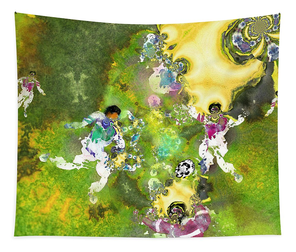 Fractal Tapestry featuring the painting Quarterback Dance by Miki De Goodaboom