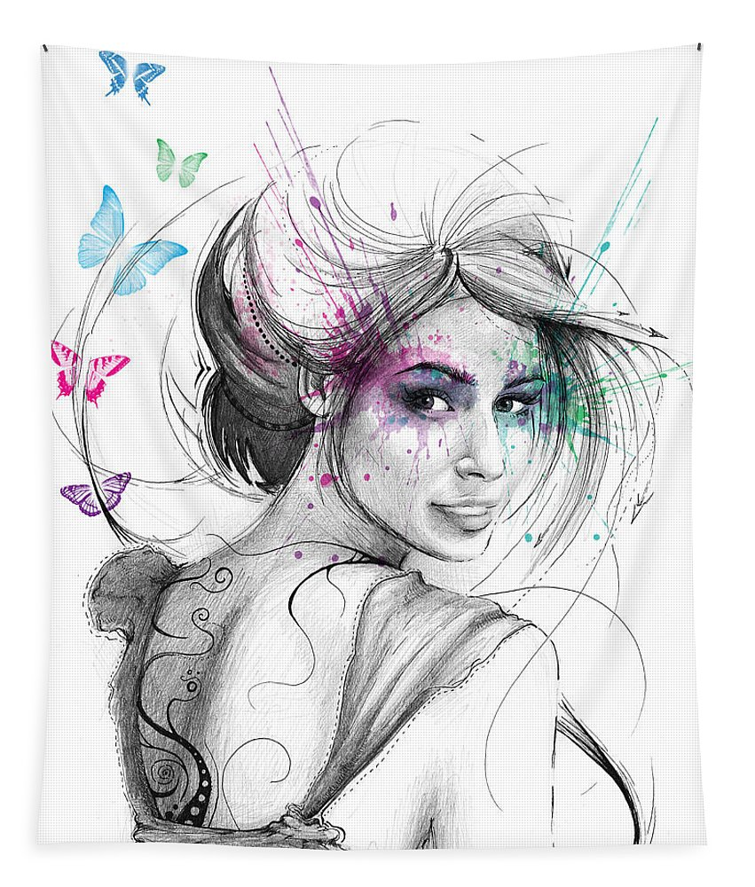 Butterflies Tapestry featuring the drawing Queen Of Butterflies by Olga Shvartsur