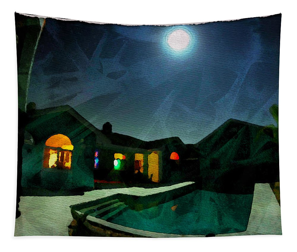 House Tapestry featuring the photograph Quiet Night With A Full Moon by Alice Gipson