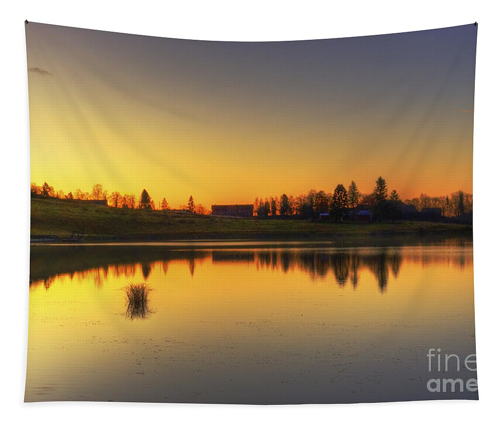 Sunrise Tapestry featuring the photograph Quiet Sunrise.. by Nina Stavlund