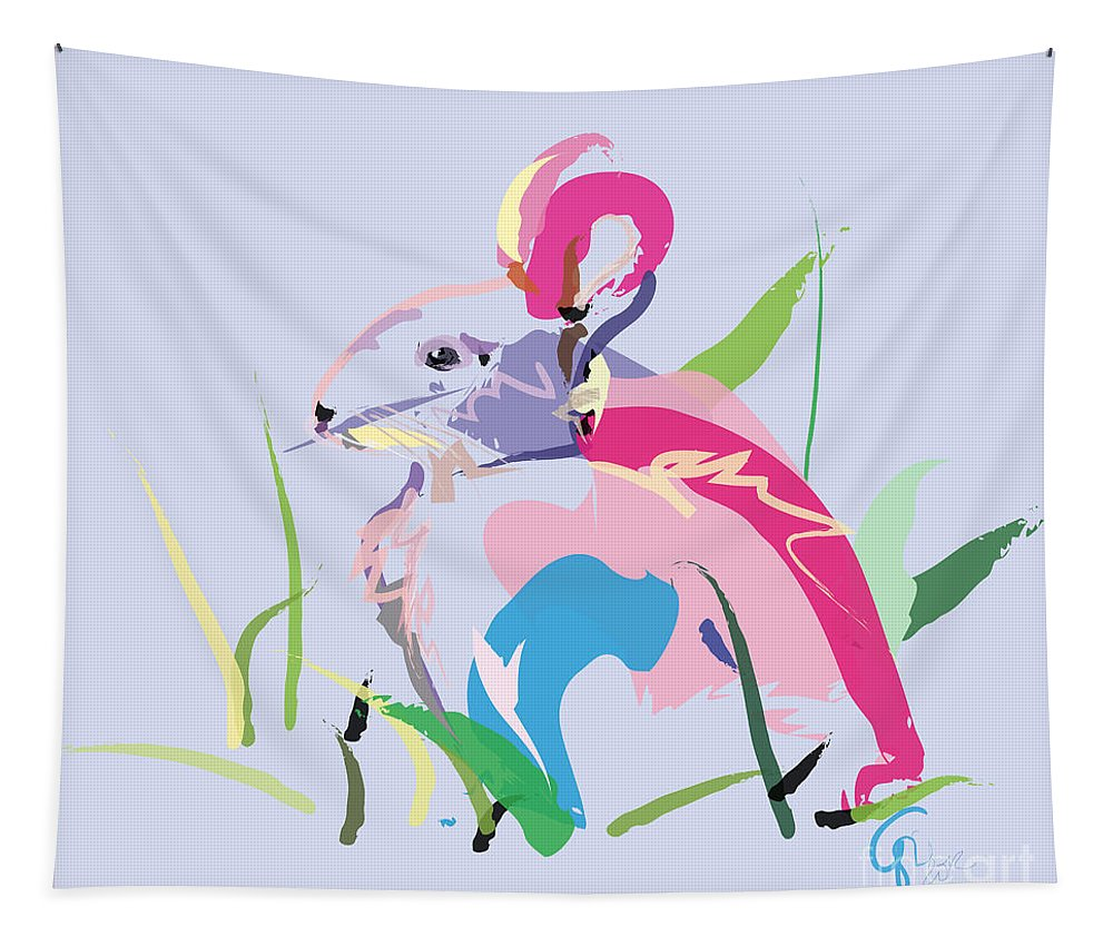 Pet Tapestry featuring the painting Rabbit - Bunny In Color by Go Van Kampen