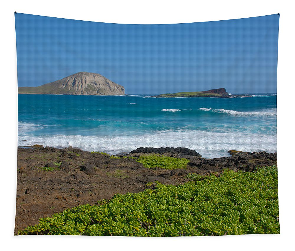 Rabbit Island Manana Kaohikaipu Makapuu Beach Crashing Wave Oahu Hawaii Seascape Tapestry featuring the photograph Rabbit Island by Brian Harig