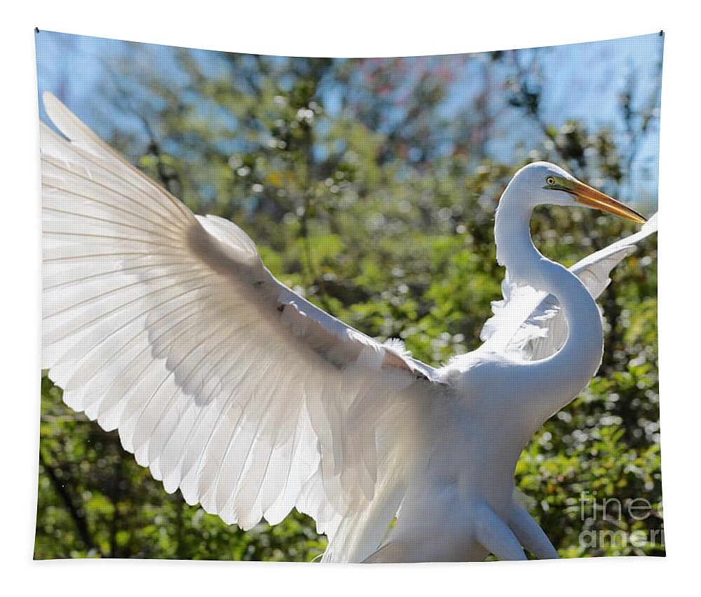 Egret Tapestry featuring the photograph Radiant Great Egret by Carol Groenen