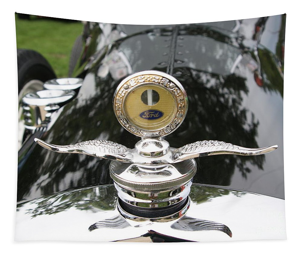 Car Tapestry featuring the photograph Radiator Cap Ford Racer by Neil Zimmerman