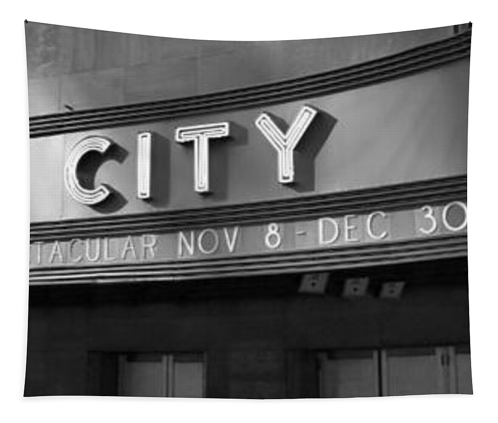 Radio City In Black And White Tapestry featuring the photograph Radio City In Black And White by Dan Sproul
